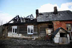 Conflagration. Elements of the burned  house Stock Photos