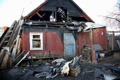 Conflagration. Elements of the burned  house Royalty Free Stock Photos
