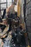 Conflagration fire damaged. In summer house after blaze stock photos