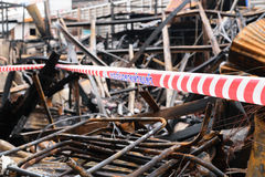 Conflagration with Rope barrier no entry word Stock Image