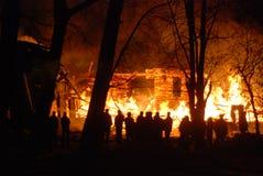 Conflagrazione/bruciare/pompieri/fuoco, la gente su fuoco Fotografie Stock