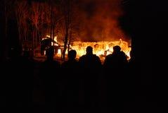 Conflagrazione/bruciare/pompieri/fuoco, la gente su fuoco Immagini Stock Libere da Diritti