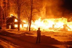 Conflagrazione/bruciare/pompieri/fuoco, la gente su fuoco Immagini Stock