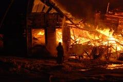 Conflagrazione/bruciare/pompieri/fuoco, la gente su fuoco Fotografia Stock