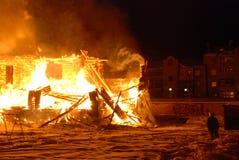 Conflagrazione/bruciare/pompieri/fuoco, la gente su fuoco Fotografie Stock Libere da Diritti