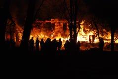 Conflagrazione/bruciare/pompieri/fuoco, la gente su fuoco Immagine Stock Libera da Diritti