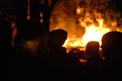 Conflagrazione/pompieri brucianti /fire, la gente su fuoco Immagini Stock Libere da Diritti