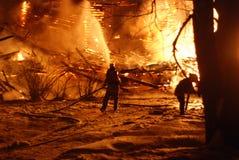 Conflagrazione/pompieri brucianti /fire, la gente su fuoco Fotografia Stock Libera da Diritti