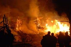 Conflagrazione/pompieri brucianti /fire, la gente su fuoco Fotografie Stock