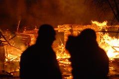 Conflagrazione/pompieri brucianti /fire, la gente su fuoco Fotografie Stock Libere da Diritti