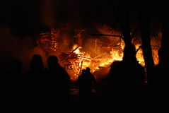 Conflagrazione/pompieri brucianti /fire, la gente su fuoco Fotografia Stock
