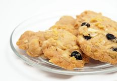 Conflex and raisin cookies Stock Photos