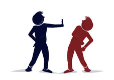 Conflict. An illustration of two stylized character in conflict royalty free illustration