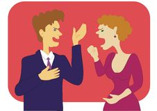 The conflict. Between the man and the woman. An illustration Stock Images