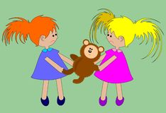 The conflict. Two girls fight because of a bear Royalty Free Stock Photography