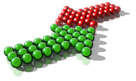 Conflict. 3d rendering of a green and a red arrow symbolysing a conflict Stock Photo