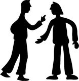 Conflict. Silhouette of two men having an argument Royalty Free Stock Photos