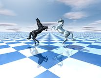 Conflict abstract idea with horses and chessboard. 3d illustration Royalty Free Stock Image