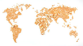 Conflict areas (corn exploding). A world map (metaphorically made of popcorn) on which the maize in the well-known conflict areas has exploded Stock Photos