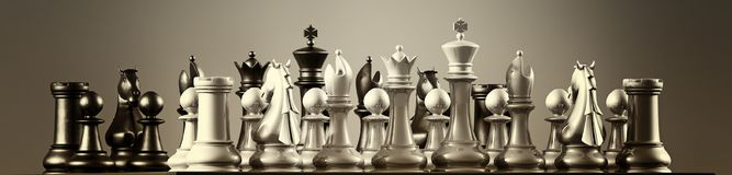 Conflict. Armies face off waiting for marching orders in chess Royalty Free Stock Image