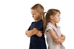 Conflict between a boy and a girl Stock Images