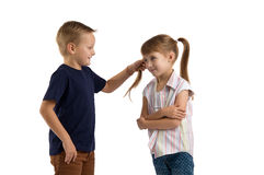 Conflict between a boy and a girl Royalty Free Stock Photography