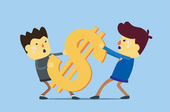 Conflict of business interest. Two man try to get same money. This illustration meaning to conflict of business interest Royalty Free Stock Photos
