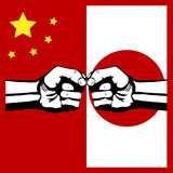 Conflict China and Japan. Flag China and Japan Stock Image