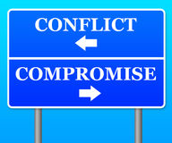 Conflict compromise. Trying to avoid conflict and finding a compromise Stock Image