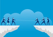 Conflict concept. Businessmen pulling rope over precipice. Business rivalry and competition on blue background. Illustrator vector illustration