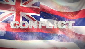 Conflict concept. State of Hawaii flag. Flags of the states of USA. 3D illustration stock illustration