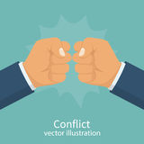 Conflict concept vector. Conflict concept. Two fists clenched in a dispute. Aggressive solution to problem. Disagreements of businessmen. Business conflict Stock Photos