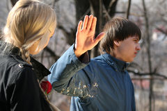 Conflict between couple. Conflict between two young people in the park Stock Photo