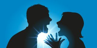 A couple argues insulting face to face vector illustration