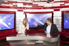 Conflict in de televisiestudio royalty-vrije stock afbeeldingen