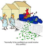 Conflict with Devil. Business cartoon about devil blowing leaves into the angels' yard, 'normally I'd be confident we could resolve this conflict vector illustration
