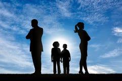 Conflict en scheiding in de familie stock fotografie