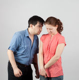 Conflict in the family. Family conflict with the use of physical violence stock image