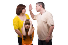 Conflict in a family. Husband is striking wife.