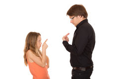 Conflict between father and daughter Stock Photos
