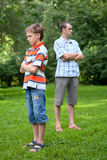 Conflict of father and son, park Stock Photos