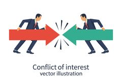 Conflict of interest. Business concept. Two businessmen keep the arrows red and green against each other. Vector illustration flat design. Isolated on white Vector Illustration
