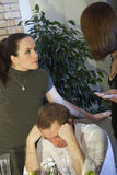 Conflict between lover and wife. Conflict between two women about man Stock Photos