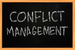 Conflict Management Chalk Writing on Blackboard Stock Image