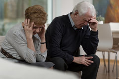 Conflict in marriage. Photo of two elderly people having conflict in marriage Royalty Free Stock Photo
