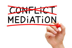 Conflict Mediation Concept. Hand writing Mediation concept with marker on transparent wipe board. Mediation - to resolve or settle differences by working with Royalty Free Stock Photos