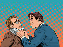 Conflict men fight quarrel businessman. Pop art retro style. Emotions and crime. The customer and the businessman Stock Photo