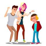 Conflict met Ouders, de Tienervector van Vaderand mother scolding Geïsoleerdeo illustratie vector illustratie