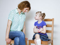 Conflict between mother and daughter Stock Photography