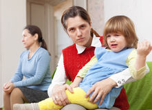 Conflict between the mother and her mother Stock Images
